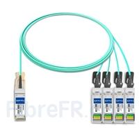 Image de 3m Brocade 100G-Q28-S28-AOC-0301 Compatible Câble Optique Actif Breakout QSFP28 100G vers 4 x SFP28