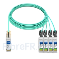 Image de 25m H3C QSFP-4X10G-D-AOC-25M Compatible Câble Optique Actif Breakout QSFP+ 40G vers 4 x SFP+