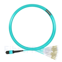 Image de 10m MTP Femelle vers 6 LC UPC Duplex 12 Fibres OM3 50/125 Câble Breakout Multimode, Type A, Élite, LSZH, Aqua