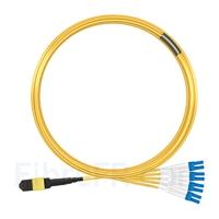 Image de 10m MTP Femelle vers 4 LC UPC Duplex 8 Fibres OS2 9/125 Câble Breakout Monomode, Type B, Élite, LSZH, Jaune