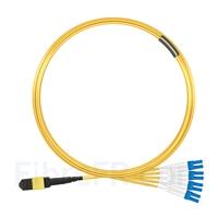 Image de 5m MTP Femelle vers 4 LC UPC Duplex 8 Fibres OS2 9/125 Câble Breakout Monomode, Type B, Élite, LSZH, Jaune