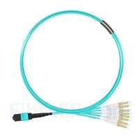 Image de 5m MTP Femelle vers 4 LC UPC Duplex 8 Fibres OM3 50/125 Câble Breakout Multimode, Type B, Élite, LSZH, Aqua