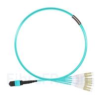 Image de 1m MTP Femelle vers 4 LC UPC Duplex 8 Fibres OM3 50/125 Câble Breakout Multimode, Type B, Élite, LSZH, Aqua