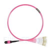 Image de 1m MTP Femelle vers 4 LC UPC Duplex 8 Fibres OM4 (OM3) 50/125 Câble Breakout Multimode, Type B, Élite, LSZH, Magenta