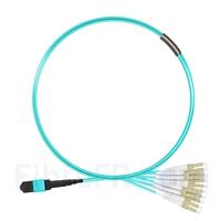 Image de 1m MTP Femelle vers 6 LC UPC Duplex 12 Fibres OM3 50/125 Câble Breakout Multimode, Type A, Élite, LSZH, Aqua