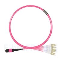 Image de 3m MTP Femelle vers 4 LC UPC Duplex 8 Fibres OM4 (OM3) 50/125 Câble Breakout Multimode, Type B, Élite, Plénum (OFNP), Magenta
