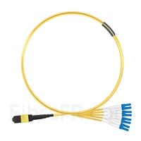 Image de 2m MTP Femelle vers 4 LC UPC Duplex 8 Fibres OS2 9/125 Câble Breakout Monomode, Type B, Élite, Plénum (OFNP), Jaune