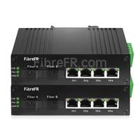 Image de 4x10/100/1000Base-T RJ45 vers 1xConvertisseur de média Ethernet Gigabit non géré SFP 1000Base-X, Simplex, 1310nm/1550nm, 20km industriel