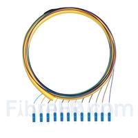Image de 1,5m Pigtail à Fibre Optique LC UPC 12 Fibres OS2 Monomode Faisceau PVC (OFNR) 0,9mm